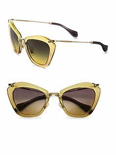 Miu Miu Noir Catwalk Cat's-Eye Sunglasses (=)