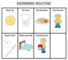 ourhomecreations: Preschool Morning Routine Chart (Boy or Girl)