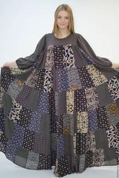 """Одежда ручной работы. Ярмарка Мастеров - ручная работа. Купить Лоскутное платье """"Ведунья"""". Handmade. Темно-серый, печворк платье"""