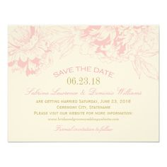 Wedding Save the Date   Pink Floral Peony Design