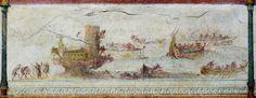 The Battle of Actium (presumably). Fresco from the Villa Farnesina (Rome). Augustan age