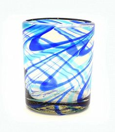 Set of 4, Handmade Recycled Double Old Fashioned Rocks Glasses, Aqua & Cobalt Swirls-12 Ounces.