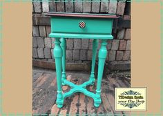 Auxiliary table Turquoise, wooden Table of red Walnut, Side table turquoise, night stand, painted furniture, Vintage furniture, 35x35x61 cm