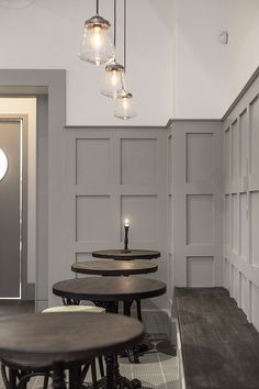 The bakery, Robin Delselius Bageri, that I´ve done the interior and graphic design for. Pub Interior, Gray Interior, Interior Design Living Room, Living Room Decor, Interior Decorating, Cafe Design, House Design, Wainscoting, Restaurant Design