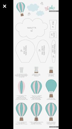 Best 12 Shapeabilities Hot Air Balloon Etched Dies My Little Red Wagon by Debi Adams – SkillOfKing. Felt Crafts, Diy And Crafts, Diy Hot Air Balloons, Balloon Crafts, Baby Balloon, Diy Bebe, Felt Patterns, Baby Room Decor, Birthday Balloons