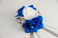Wrist Corsage - Three Rose Corsage: Royal Blue, White, and Silver