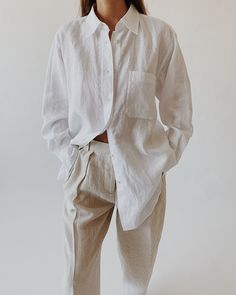 White Linen Shirt, Linen Shirts, Linen Blouse, Informal Attire, Linen Trousers, Loose Shirts, Street Style Women, Casual Wear, Rock Fashion