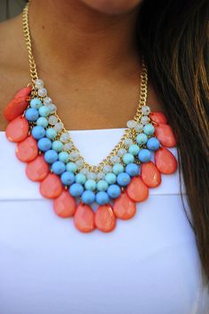 Mini Teardrop Necklace: Coral
