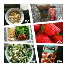 Here is today's food diary! M1 ● oatmeal, banana, bee pollen with soy cappuccino. M2 ● ice coffee with Lara bar. M3 ● salmon, rice, peas & spinach. M4 ● bowl of strawberries. M5 ● greek style salad. M6 ● siracha almonds.