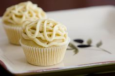 Basil Infused Olive Oil Cupcakes with White Wine - from Cupcake Project
