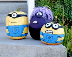 Minion pumpkins with a mutated pumpkin from Despicable Me 2