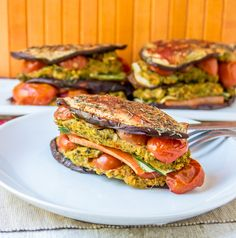 A really tasty and filling side or main meal with layers of roasted veggies stuffed with rice and broccoli hummus. Veggie Recipes, Gluten Free Recipes, Healthy Recipes, Vegetarian Recipes, Baked Rice, Main Meals, Salmon Burgers, Hummus, Veggies