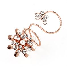 2013 New Arrived Fashion Gold Alloy And Rhinestone Flower And Butterfly Loopy Rings