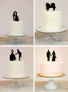 Silhouette wedding cake topper