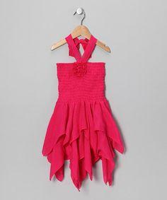 Fuchsia Rosette Handkerchief Dress - Toddler & Girls by Lele for Kids #zulily #zulilyfinds