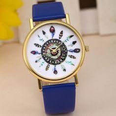 Mujeres baratas Plumas de La Vendimia Patrón Banda de Cuero Reloj de Cuarzo  Analógico Dial Reloj Casual de Las Señoras Vestido de La Muñeca Relojes  Montre ... 37d7ac647038