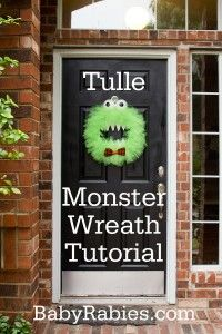 Do monster wreath with red tulle and no teeth = Elmo!