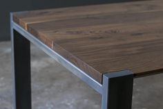 Fine Wood Table Designs Look around as you move throughout your day. From mailbox posts to pieces of furniture and art to full buildings, the power to use wood to create is Custom Dining Tables, Walnut Dining Table, Dining Table Chairs, Wood Table, Steel Table, Wood And Metal Table, Welded Furniture, Steel Furniture, Diy Furniture