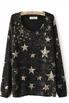 Star Print Colorful Thread Knitted Sweater (Me + Big jumpers = <3 )