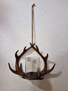 Windlicht zum Hängen Geweih Teelichthalter Kerzenhalter Deko Jagd Poly Landhaus