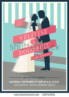 Groom and Bride with ribbon wedding invitation card template by kraphix, via Shutterstock