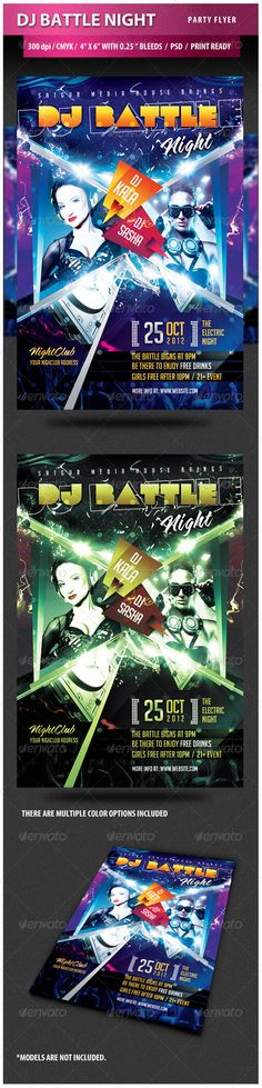 """DJ Battle Night Party Flyer  #GraphicRiver         SPECIFICATIONS: 1) Dimensions: 4.25"""" by 6.25"""" in size with bleeds 2) Resolution: 300 dpi CMYK / ready for print 3) Editable fonts/text 4) Easy to change colors 5) JPEGS included 6) Properly Layered Photoshop File 7) Help file included  Smart object for photos so you can easily add your photo 9) Multiple color options  Fonts used are free and mentioned in download package. Please note people photos are not included. Hope you will like the…"""