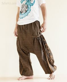 Hindu Om Script Aladdin Harem Pants Textured Cotton Big Pockets (Brown)