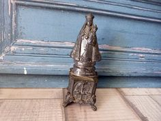 Madonna with child Jesus Christ statue Antique French religious our lady of Font Romeu statue sculpture Holy Mother and child on base w cros