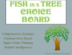 9 activities that provide a fun culmination to your Fish in a Tree unit. Students can choose from a variety of activities to create their own final project. Use as classwork, homework, Lit Circles, or even in literacy centers. Activities promote higher order thinking, are connected to Common Core standards, and are engaging by tapping into the Multiple Intelligences.Check out more AWESOME CHOICE BOARDS for Upper Elementary novels in my store!