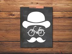 Bicycle Print - Mustache Art Print - Retro Print - Home Decor Print - Digital File - Chalkboard Art on Etsy, $5.00