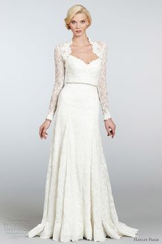 hayley paige bridal spring 2013 juliet strapless lace a line gown long sleeve bolero hp6305