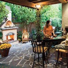 Glowing Outdoor Fireplace Ideas: Small Space Outdoor Fireplace