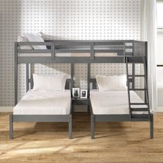 Harriet Bee Ayasha Twin over Twin over Full Triple Bed Bed Frame Color: Dark Gray Loft Bunk Beds, Full Bunk Beds, Kid Beds, Modern Bunk Beds, Three Bed Bunk Beds, Bunk Beds For Adults, Boys Bedroom Ideas With Bunk Beds, Unique Bunk Beds, Small Room Design