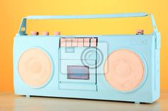 Wall Mural Colorful retro radio, on yellow background