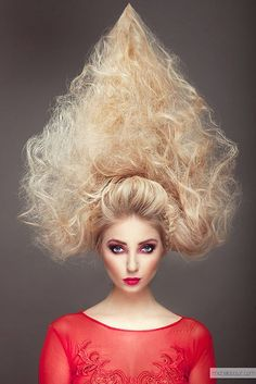 If you are getting bored from simple hair styles. Let's try something crazy today. You will enjoy this craziness because one must need something different and out of the way. New experiences give n… Bad Hair Day, Crazy Hair Days, Big Hair, Creative Hairstyles, Up Hairstyles, Natural Hairstyles, Wacky Hair, Avant Garde Hair, Extreme Hair