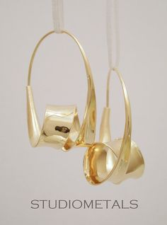 Rose Gold Hoop Earrings Spiral Earrings Unique by Studiometals
