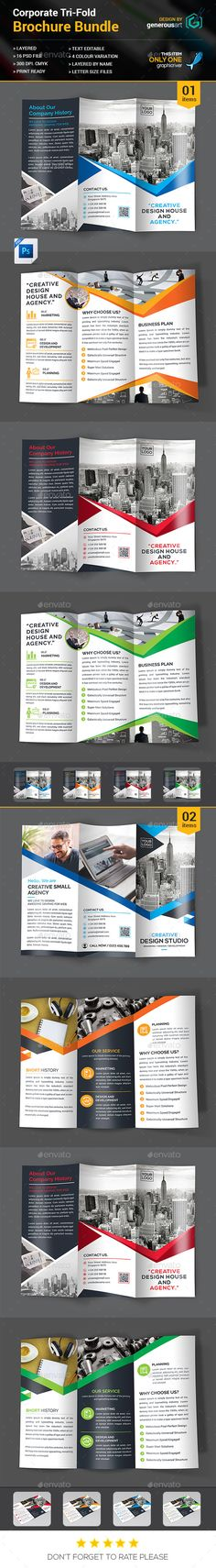 Corporate Tri-fold Brochure Design Template Bundle_2 in 1 - Brochures Print Template PSD. Download here: https://graphicriver.net/item/trifold-bundle_2-in-1/16963364?s_rank=237&ref=yinkira