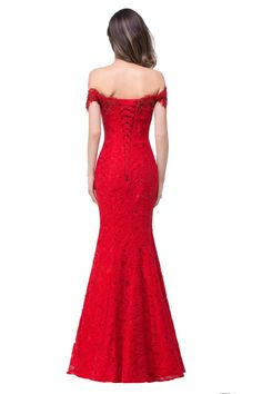 [~50] Elegant Evening Dress! Crystal Beaded Red Royal Blue Lace Mermaid Long Evening Dresses 2016 Prom Party Dress Robe De Soiree Longue!  Wholesale Womens Clothing!