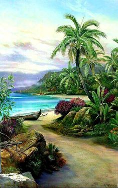 """""""Pathway to Paradise"""" original painting by Paul Roberts. The artist really captures the essence of the shoreline in Hawaii in this piece. Pictures To Paint, Nature Pictures, Beautiful Paintings, Beautiful Landscapes, Landscape Art, Landscape Paintings, Art Surf, Hawaiian Art, Caribbean Art"""