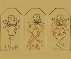 PK092 Christmas Ornament Tag Collection: Primitive Keepers, Prim Machine Embroidery Designs