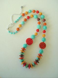Boho Southwest Necklace Seventies Remake Turquoise by BohoStyleMe