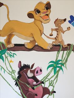 Wall painting Lion King close up