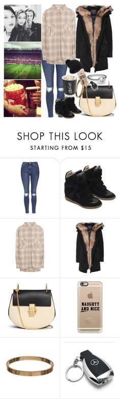 """""""friends evening"""" by ally-xcv ❤ liked on Polyvore featuring xO Design, Topshop, Isabel Marant, Étoile Isabel Marant, Woolrich, Chloé, Casetify, 18 KT, Cartier and Mercedes-Benz"""