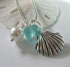 : aqua sea glass necklace