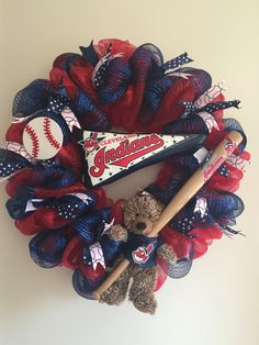 Cleveland Indians deco mesh wreath