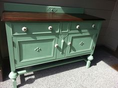 Sideboard refinished in custom green and java gel stain.  www.facebook.com/olcountrychic