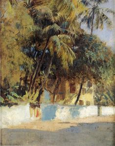 Street Scene of Bombay - Oil Painting by American Artist Edwin Lord Weeks 1849-1903