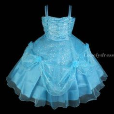 NEW Flower Girl Wedding Pageant Party Princess Bridsmaid Dress Blue SZ 4-8 Q432