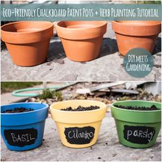 DIY: eco-friendly chalkboard paint pots