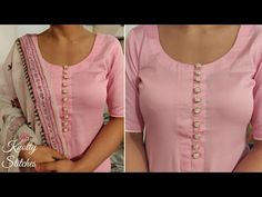 Very Easy and Stylish Neck Design With Buttons Cutting and Stitching in Hindi ( Easy Method)Fashion Jewelry For Toddlers Refferal: 9252044084 Chudidhar Designs, Chudidhar Neck Designs, Salwar Neck Designs, Kurta Neck Design, Neck Designs For Suits, Neckline Designs, Kurta Designs Women, Dress Neck Designs, Sleeve Designs